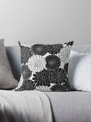 dahlia black and white pillow coloring book floral design