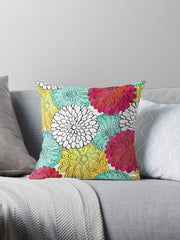Dahlia Coloring Book Flower Florals Pillow