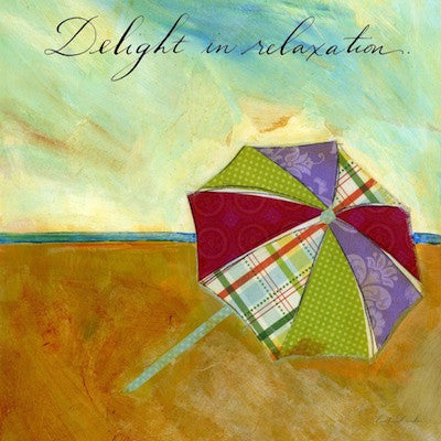 Beach Days II - Delight in Relaxation Beach Umbrella Print