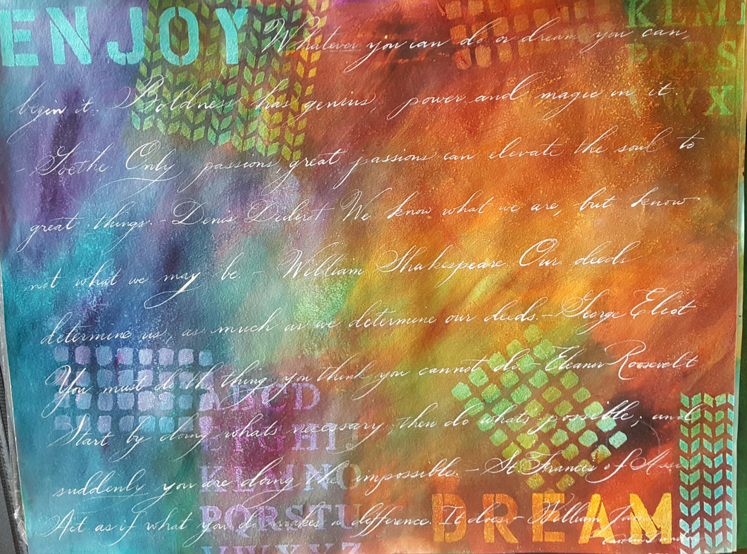 Enjoy Dream, 22 x 28 Calligraphy Painting on Paper SALE