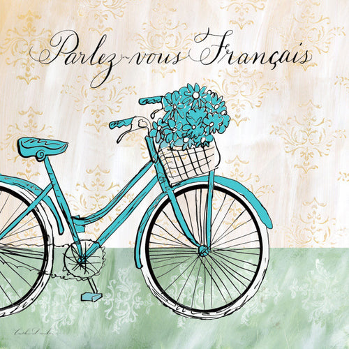 French Bike with Flowers Print - Parlez-vous Francais