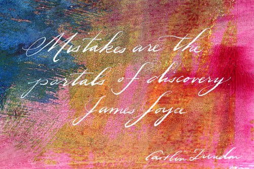 1 Postcard - James Joyce -Mistakes - Hand Painted with Calligraphy
