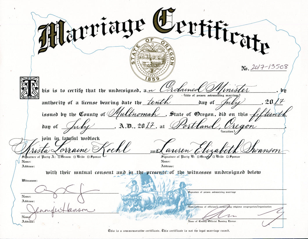 Marriage Certificate Calligraphy Caitlin Dundon