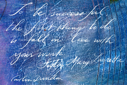 1 Postcard - Sister Mary Lauretta - To Be Successful - Hand Painted with Calligraphy