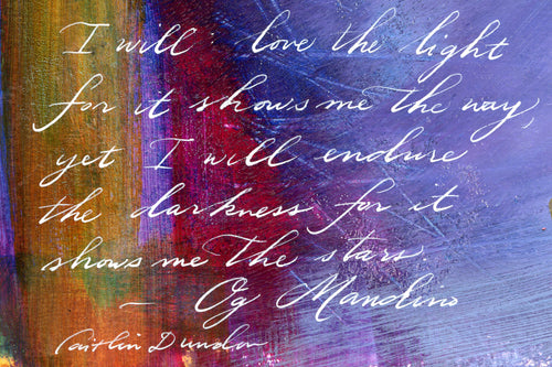 1 Postcard - Og Mandino - Light and Darkness - Hand Painted with Calligraphy