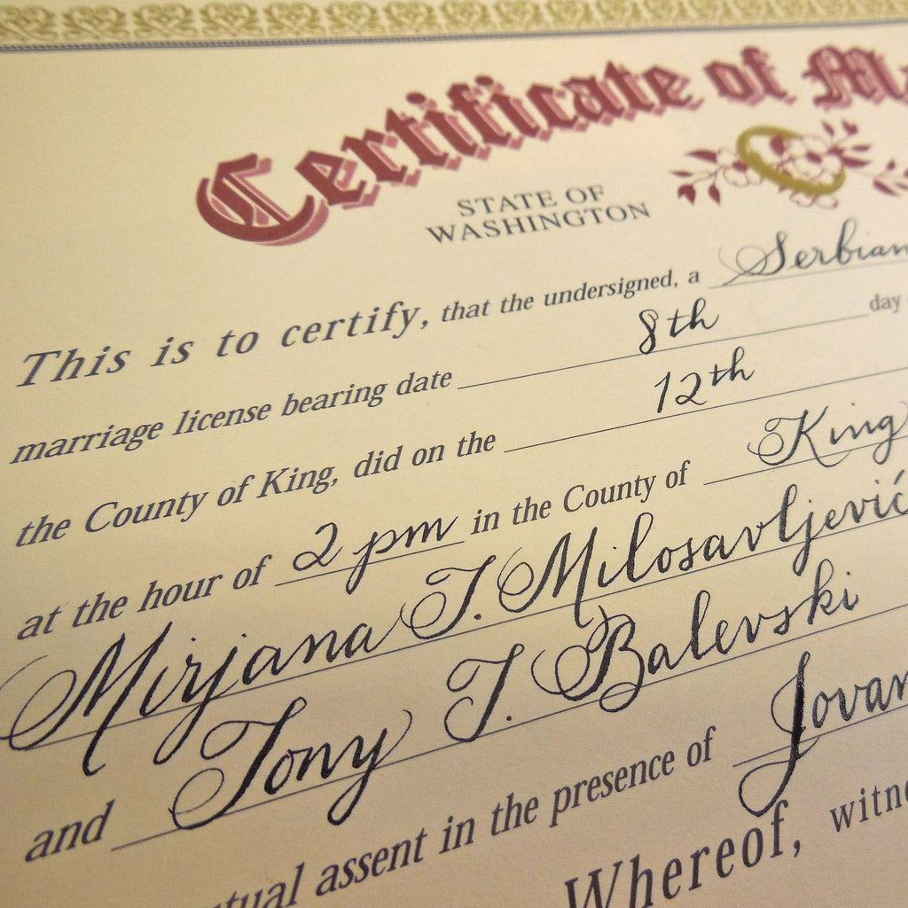 Marriage Certificate Calligraphy