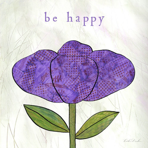 Be Happy - Purple Flower Collage Print