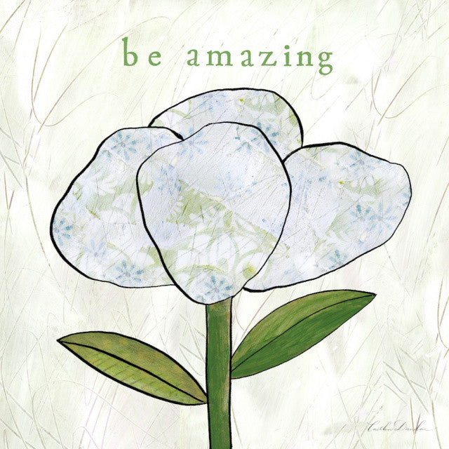 Be Amazing - White Flower Collage Print