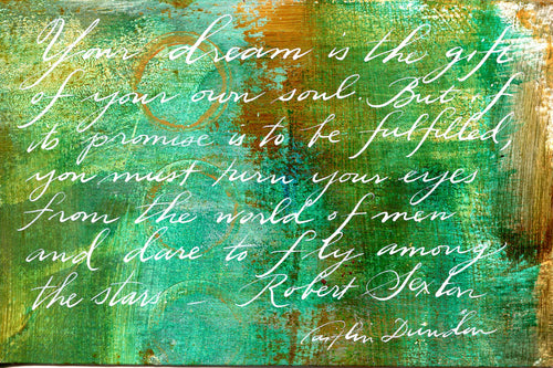1 Postcard - Robert Sexton - The Gift of Your Own Soul - Hand Painted with Calligraphy
