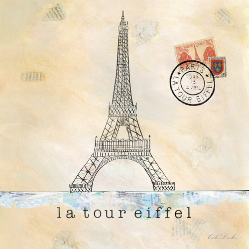 Postmark Paris Eiffel Tower Sketch Print