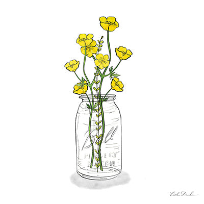 Wildflowers Mason Jar III Print