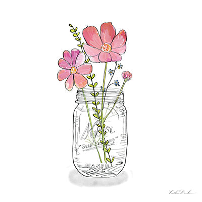 Wildflowers Mason Jar IV Print