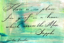 1 Postcard - Sappho - No Place for Grief - Hand Painted with Calligraphy