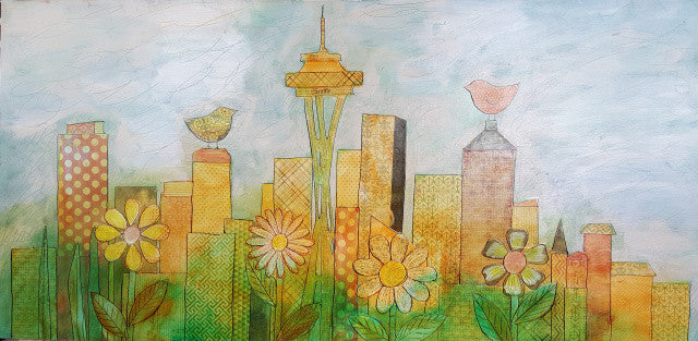 Seattle Skyline in Bloom: Bird Meets Bird Collage Painting SALE