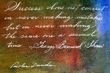 1 Postcard - George Bernard Shaw - Success - Hand Painted with Calligraphy