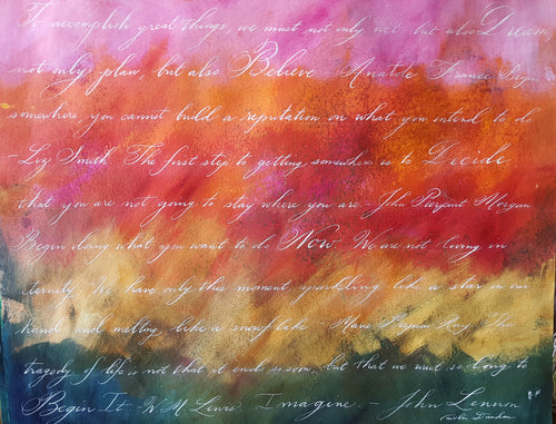 Accomplish Great Things, 22 x 28 Calligraphy Painting on Paper SALE