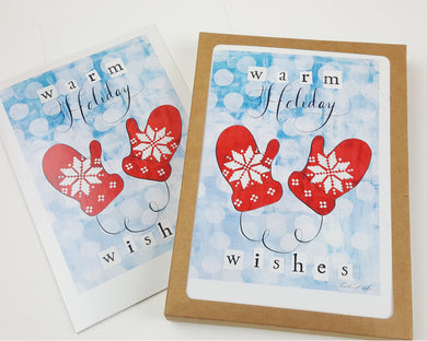 Artist Greeting Cards - Holiday Cards - Warm Holiday Wishes Mittens