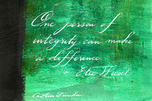 1 Postcard - Elie Wiesel - One Person - Hand Painted with Calligraphy