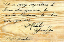 1 Postcard - Malala Yousafzai - Show Who You Are - Hand Painted with Calligraphy