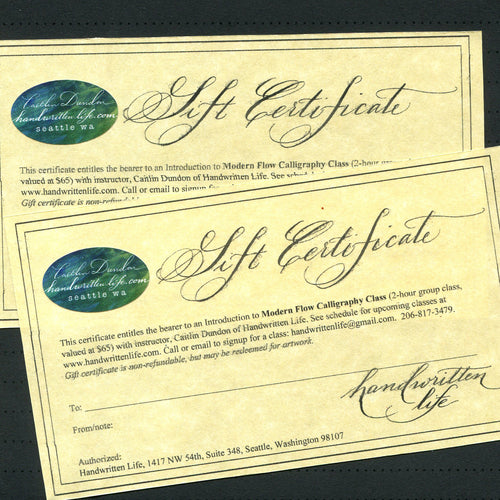 Gift Certificate for Intro to Modern Flow Calligraphy Class