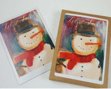 Artist Greeting Cards - Holiday Cards - Let it Snowman