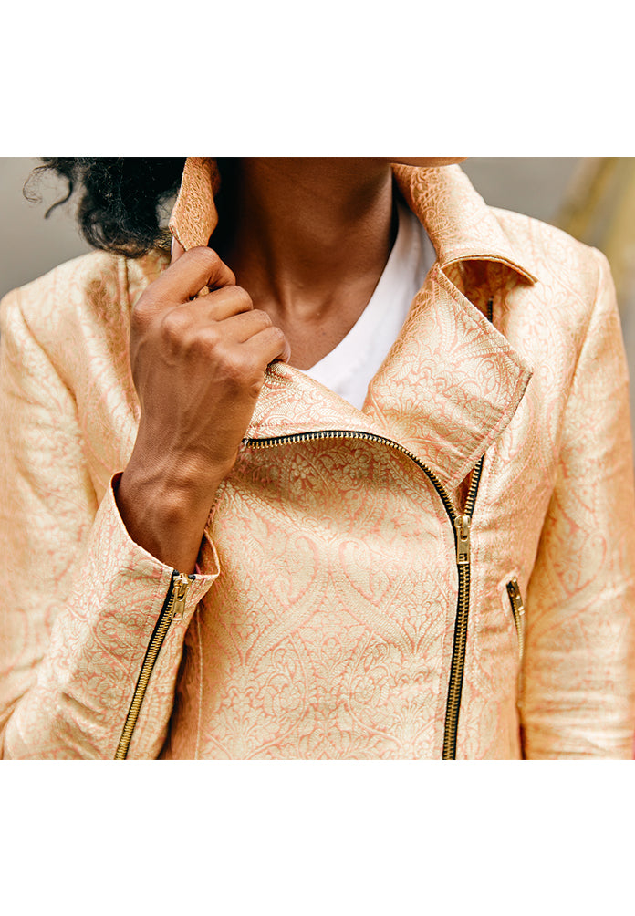 Late Night Biker Jacket In Apricot