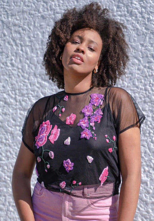 Orchids & Healing Black Tulle Blouse