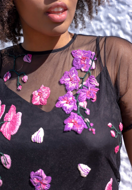 Orchids & Healing Black Tulle Blouse - PRE-ORDERS NOW CLOSED