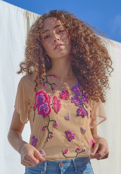 Orchids & Healing Sheer Tulle Blouse