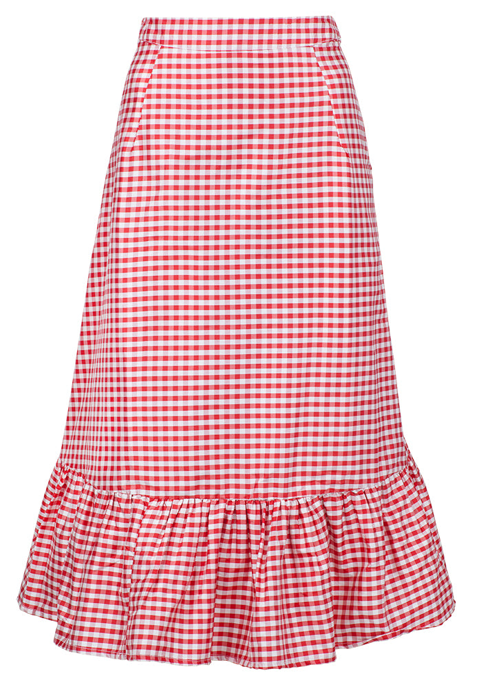 Katie Red Gingham Skirt in Silk