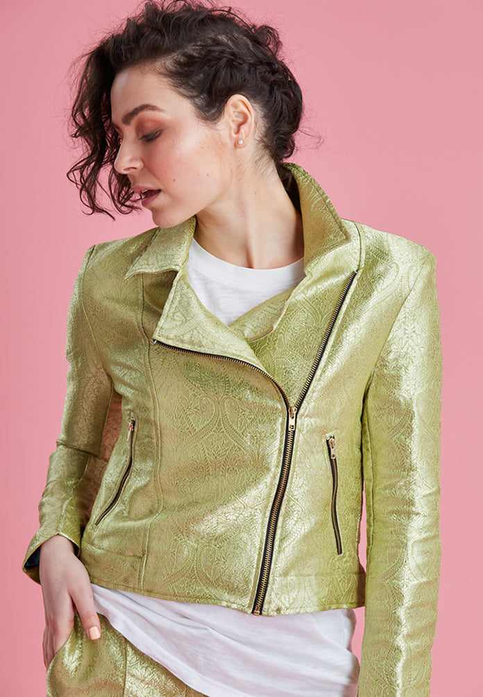 Late Night Biker Jacket In Pistachio
