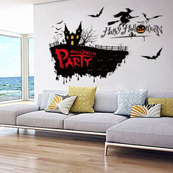 Halloween Witch PVC Wall Stickers Waterproof Shop Bedroom Wall Decals Home DIY Wall Paper