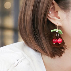 Cherry and leaf Earrings