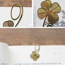 Lucky Four-leaf Clover Golden Metal Bookmarks