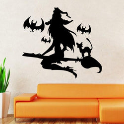 New Halloween PVC Witch Wall Sticker Halloween Window Decals Wall Arts