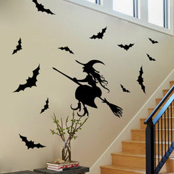 Witch and bats Wall Sticker