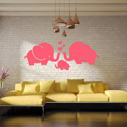 Large Size Loving Family Pink Elephant Cartoon Wall Stickers Home Decor Wall Decal