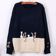 Multiple Cats Two Colors Printed Sweater