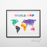 Colorful Cartoon World Map Print Poster