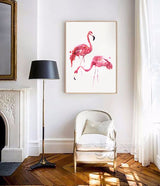 Watercolor Flamingo Canvas Art Print Painting Poster