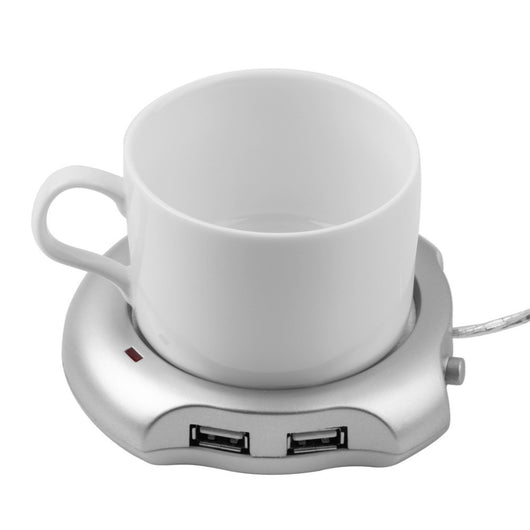 Silver 4 Port USB Hub Tea Coffee Cup Mug Warmer 50 degree Max