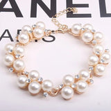 High Quantity Golden Simulated Pearl Crystal Bracelets