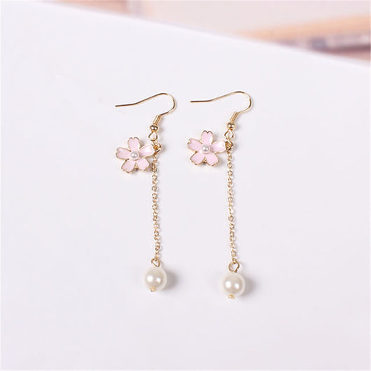 Cherry Blossom Pearl Tassel Earrings