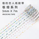 0.5CM Wide Fresh Style Various Patterns Slim Washi Tape