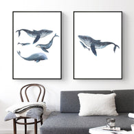 Watercolor Whales Canvas Art Print Painting Poster