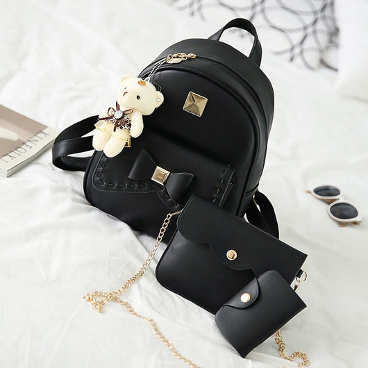 Leather Backpack with Purse and Bear