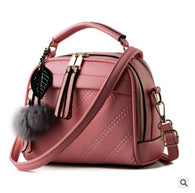 Women Leather Shoulder Bag with Fluffy Ball Chains