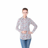 Women Printed Cotton Long Sleeve Top Blouse
