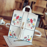 Flowers Embroidery Leather Backpack