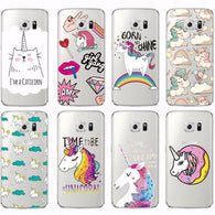 Samsung Galaxy Phone Clear Soft Case - Unicorns, Cats,  Rainbows